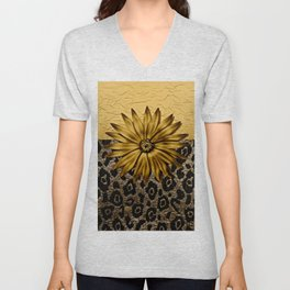 Animal Print Brown and Gold Animal Medallion Unisex V-Neck