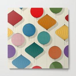 Chinese paper lamp pattern Metal Print