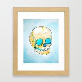 Orange and Blue Skull Watercolor and Ink Framed Art Print