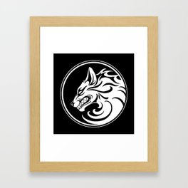 White and Black Growling Wolf Disc Framed Art Print