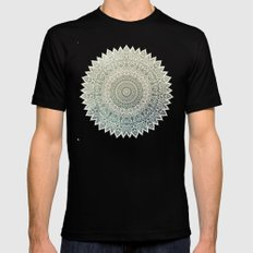 AUTUMN LEAVES MANDALA Mens Fitted Tee Black MEDIUM