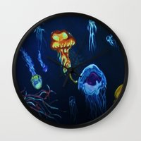 jelly fish Wall Clocks featuring Jelly-Jelly-Fish by Fknjedi1