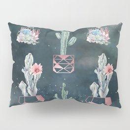 Rose Gold Desert Potted Cactuses and Succulents Night Sky Pillow Sham