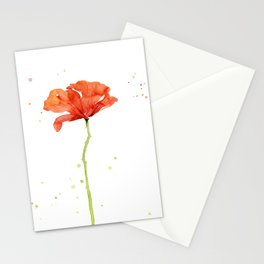 Red Poppy Flower Watercolor Stationery Cards