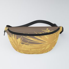 Mustard yucca leaves on toffee background Fanny Pack