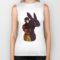 hiccup Biker Tanks featuring Hiccup and Toothless by tsunami-sand