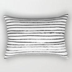 Black Brush Lines on White Rectangular Pillow