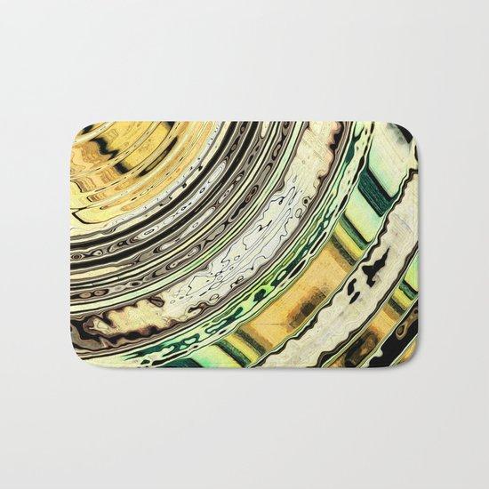Textured Earth Tone Rings Bath Mat
