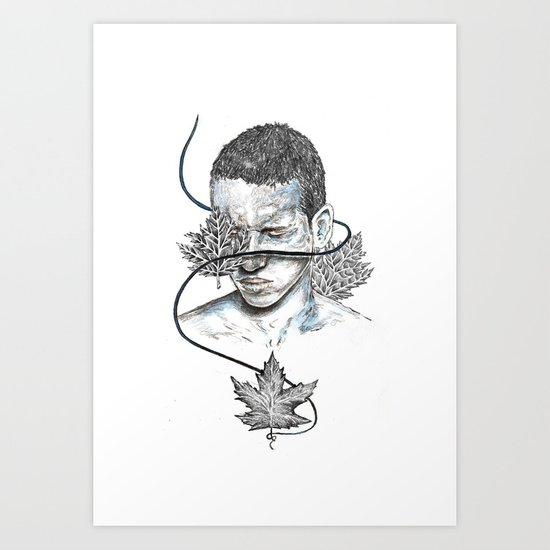 Leaves boy Art Print