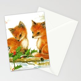 Cute Vintage Christmas Foxes Stationery Cards