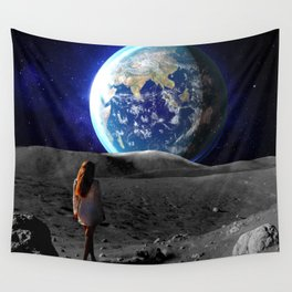 girl on the moon Wall Tapestry