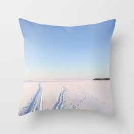 Footsteps in Snow on Lake Ice Throw Pillow