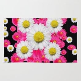Festive Pink Gerbera & White Daisy Flowers Black Patterns Art Rug
