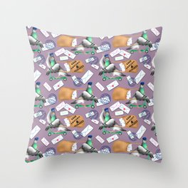 Pigeons Express (Mauve Background) Throw Pillow
