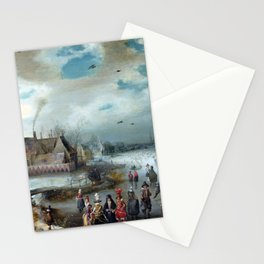 Adam van Breen Skating on the Frozen Amstel River Stationery Cards