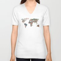map of the world V-neck T-shirts featuring Louis Armstrong Told Us So by Bianca Green