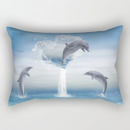 The Heart Of The Dolphins Rectangular Pillow