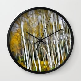 Yellow Aspens 1 by Leslie Harlow Wall Clock
