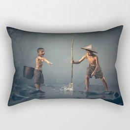 children spear fishing in Cambodia Rectangular Pillow