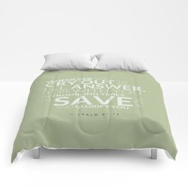 Psalm 91:15 Bible Verse - Sage Pastel Greens Comforters