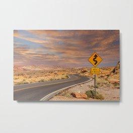 Curves 4 Miles in Desert Sunset Metal Print