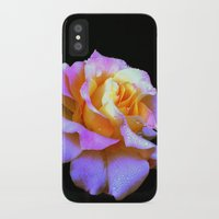 rose gold iPhone & iPod Cases featuring Pink And Gold Rose by minx267