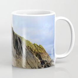 Natural Textured Cliff Face with Blue Skies Coffee Mug