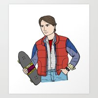 mcfly Art Prints featuring Marty McFly by MDP Design