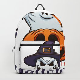 Drawn Ghosts And Pumpkins Set, Happy Halloween, Design No 02 Backpack
