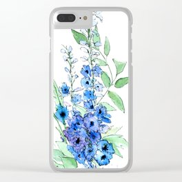 Delphinium Illustration Watercolor Painting Clear iPhone Case