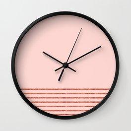 Blush Rose Gold Stripes Wall Clock