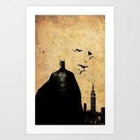 justice league Art Prints featuring justice league Bat man by Edmond Lim
