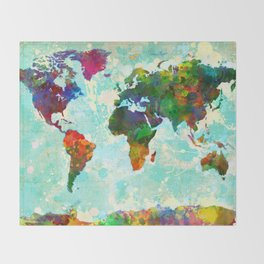 World Map - 1 Throw Blanket