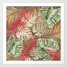 Jungle Tangle Red On Brown Art Print