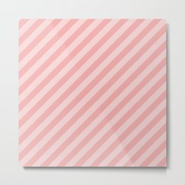 Classic Blush Pink Glossy Candy Cane Stripes Metal Print