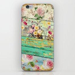 Villa Rosa Shabby Roses and Wood iPhone Skin