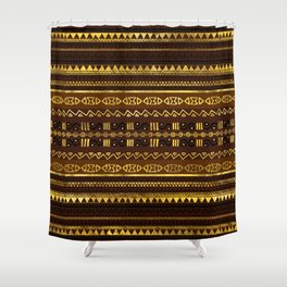 Ethnic African Golden Pattern on brown Shower Curtain