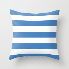 Cyan-blue azure - solid color - white stripes pattern Throw Pillow