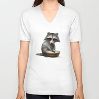 raccoon V-neck T-shirts featuring Raccoon by Antracit