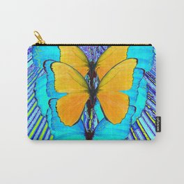 CONTEMPORARY BLUE & YELLOW BUTTERFLIES GRAPHIC ART Carry-All Pouch