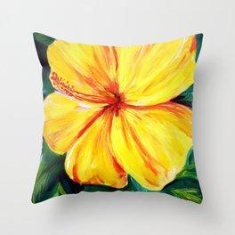 Aloha; Yellow Hibiscus Throw Pillow