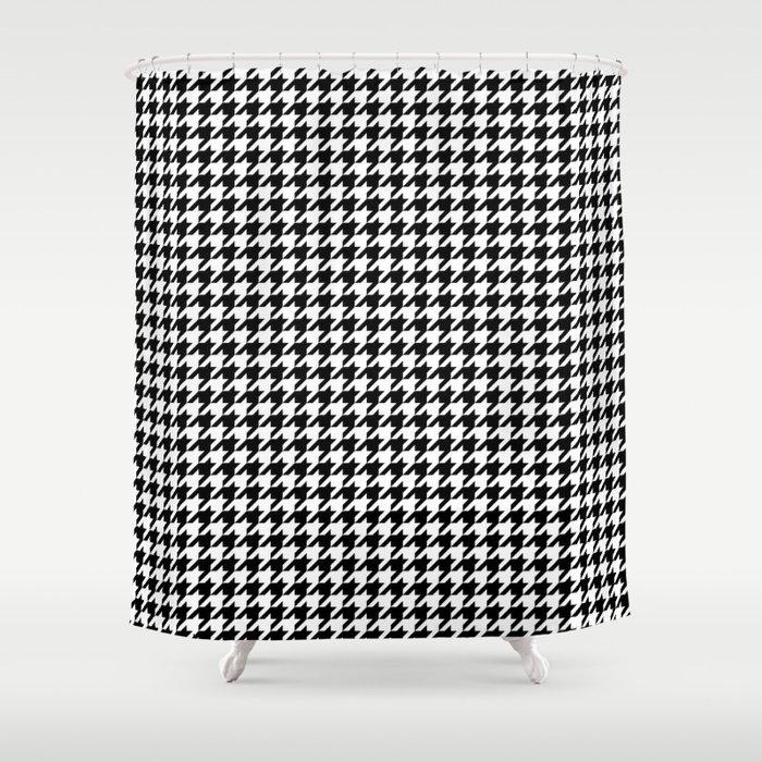 Monochrome Black White Houndstooth Shower Curtain