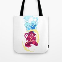 avatar the last airbender Tote Bags featuring Steven Universe x Avatar The Last Airbender by Matereya