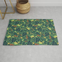 Teal, Pale Green, Dark Blue, Yellow & Orange Floral Pattern Rug
