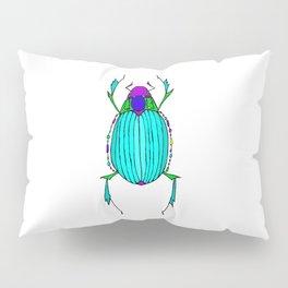 Egyptian Scarab Beetle Turquoise Pillow Sham