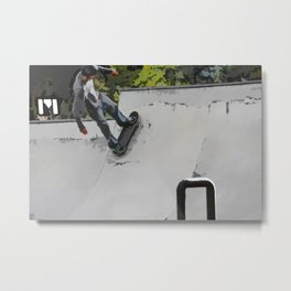 Up the Ramp  - Skateboarder Metal Print