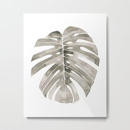 Beige Monstera Leaf Metal Print