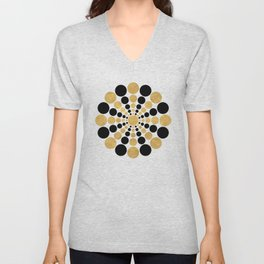 CIRCULAR BLACK AND GOLD SHAPE Unisex V-Neck