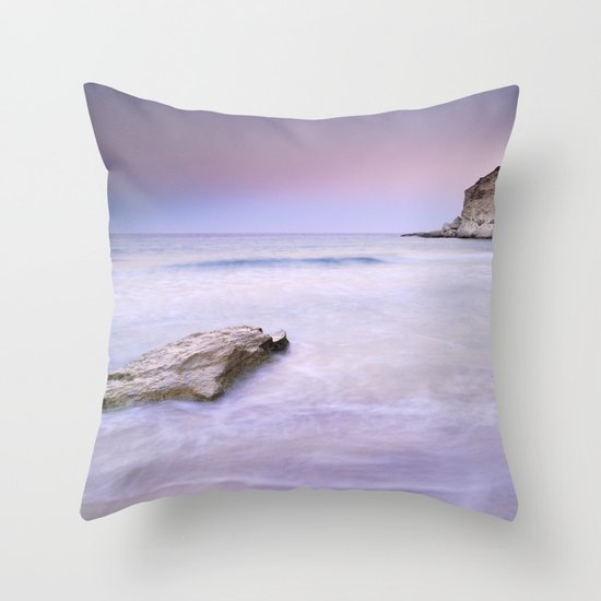 Pink sunset at the volcanic beach Throw Pillow