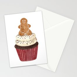 Gingerbread man Cupcake Stationery Cards